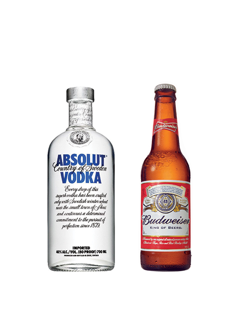 Amvyx Absolut Vodka<br>& Bud Beer